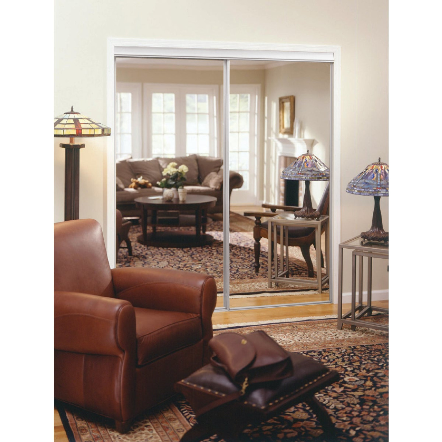 Erias 4050 Series 47 In. W. x 80-1/2 In. H. Bright White Top Hung Mirrored Bypass Door Image 1