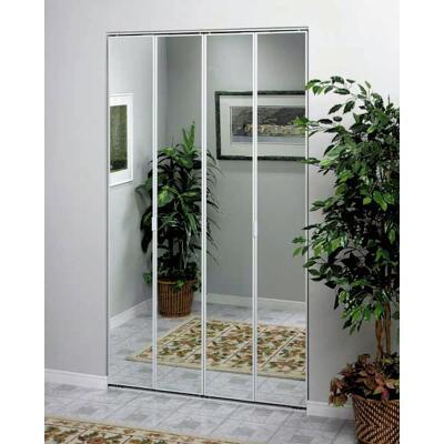 Erias Series 4400 36 In. W. x 80-1/2 In. H. Steel Frame Mirrored White Bifold Door