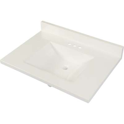 Modular Vanity Tops 31 In. W x 22 In. D Solid White Cultured Marble Vanity Top with Rectangular Wave Bowl